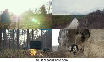 4 in 1: Group of speleologists traveling. Hiking Collage