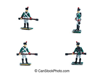 4 in 1 image of handmade metal soldiers with musket on the white background
