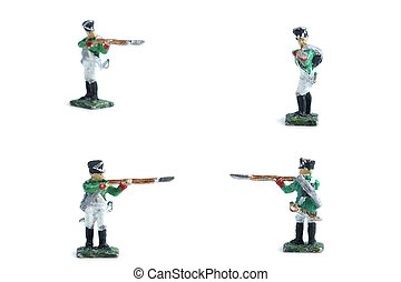4 in 1 image of handmade tin soldiers in green uniform with musket