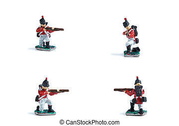 4 in 1 image of handmade tin soldiers in red uniform with musket