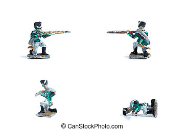 4 in 1 image of handmade tin soldiers with musket on the white background