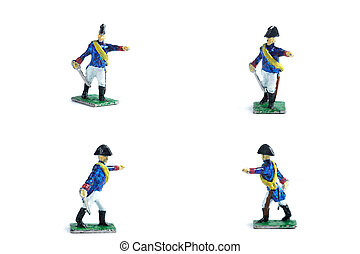 4 in 1 image of handmade tin soldiers with sword on the white background