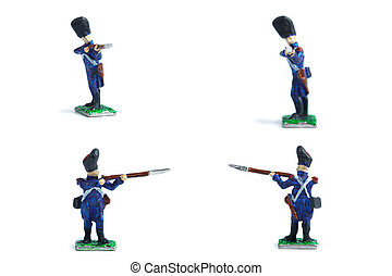 4 in 1 image of metal soldiers with musket on the white background