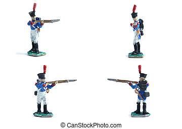 4 in 1 image of tin soldiers with musket on the white background