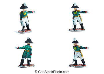4 in 1 image of tin soldiers with sword on the white background