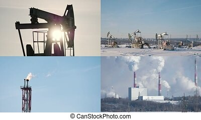 4 in 1: Industrial landscape, winter factory and smoking pipes. Destroying the ecology