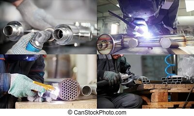 4 in 1 - Industrial manufacturing. A man working with an iron pipe details. Welding process