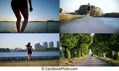 4 in 1: jogging. young athletic woman running in the morning.