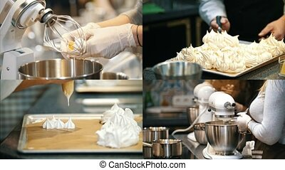 4 in 1: Making meringue at the bakery kitchen. Collage
