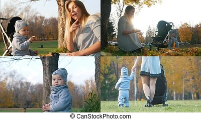 4 in 1: Mother playing with little baby boy in autumn park at sunset