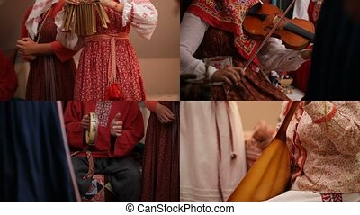 4 in 1: People in traditional Russian clothes play different...