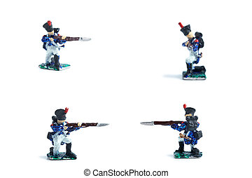 4 in 1 photo of handmade metal soldiers with musket on the white background