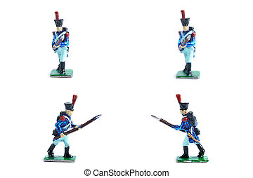 4 in 1 photo of handmade tin soldiers in blue uniform with musket