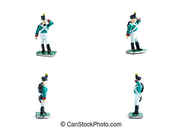 4 in 1 photo of handmade tin soldiers in green uniform