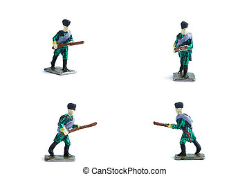 4 in 1 photo of handmade tin soldiers in green uniform with musket