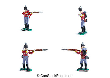 4 in 1 photo of handmade tin soldiers in red uniform with musket