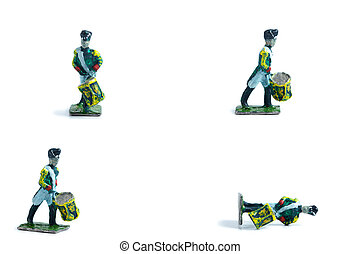4 in 1 photo of handmade tin soldiers with drum on the white background