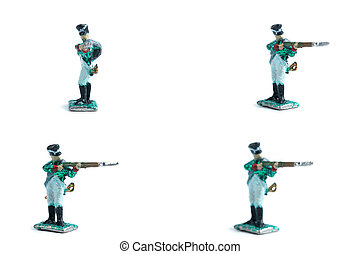 4 in 1 photo of handmade tin soldiers with musket on the white background