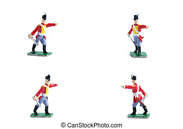 4 in 1 photo of handmade tin soldiers with sword on the white background