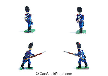 4 in 1 photo of metal soldiers with musket on the white background