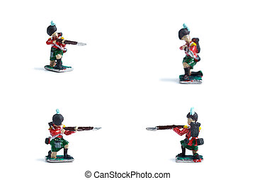 4 in 1 photo of tin soldiers with musket on the white background