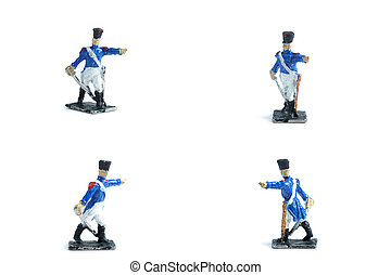 4 in 1 photo of tin soldiers with sword on the white background