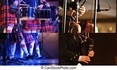 4 in 1: Scottish Orchestra - Performance on bagpipes and drums - Collage