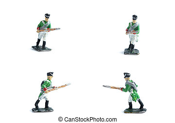 4 in 1 shot of handmade tin soldiers in green uniform with musket