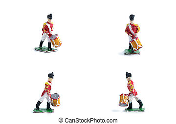4 in 1 shot of handmade tin soldiers with drum