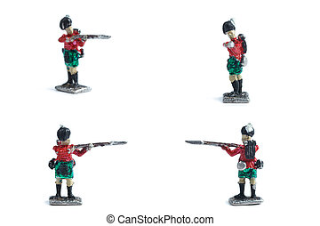 4 in 1 shot of handmade tin soldiers with musket on the white background