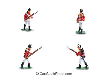 4 in 1 shot of metal soldiers with musket on the white background
