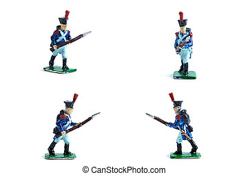 4 in 1 shot of tin soldiers with musket on the white background