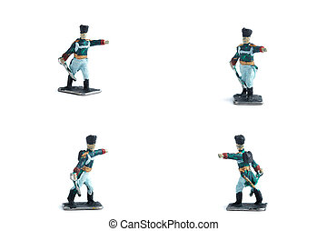 4 in 1 shot of tin soldiers with sword on the white background