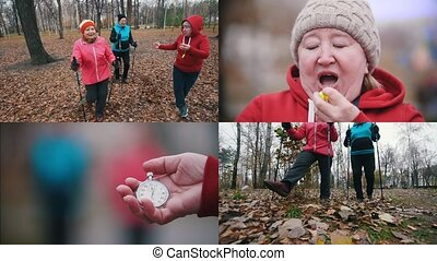 4 in 1 : Three elderly women are doing scandinavian walking...