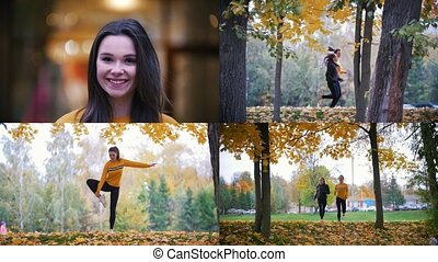 4 in 1 - two young happy women exercising outside in autumn park