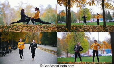 4 in 1 - two young women exercising outside in autumn park