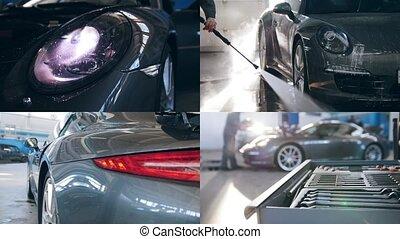 4 in 1: Washing of high-priced car, car washing process...