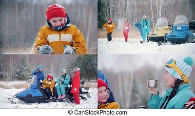 4 in 1 - winter forest. young family having fun and sitting on snowmobiles
