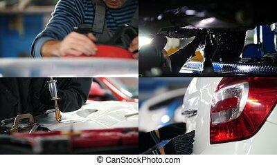 4 in 1: working process on the car workshop -Grinding repair...