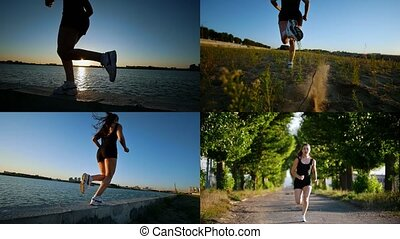 4 in 1: young athletic woman running in the morning