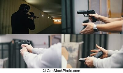 4 in 1 - young men holding a gun in shooting gallery....