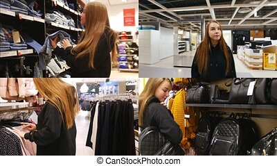 4 in 1 - young woman in shopping mall searching for clothes and accessories
