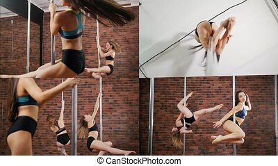 4 in 1: young women training their pole dance skills....