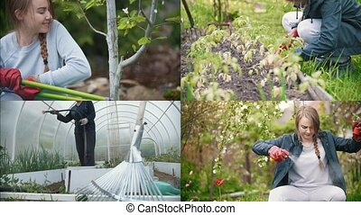 4 in1: young pretty woman working in garden