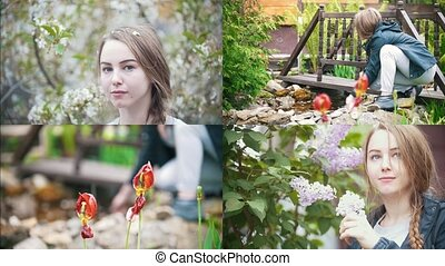 4 in1: young woman in garden among beautiful flowers