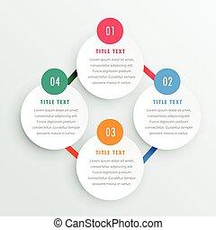 4, infographic, ステップ, テンプレート