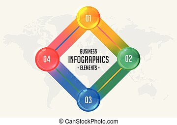 4, infographic, ステップ, ビジネス, テンプレート