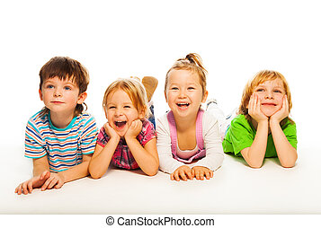 4 isolated kids isolated on white