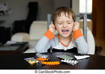 4, jährige, boy, weint, vorher, schlucken, medikation