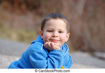 4, jaar oud, jongen, vrolijke , en, inhoud
